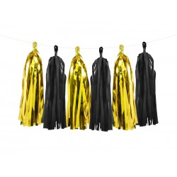 Guirnalda de borlas de color negro y dorado