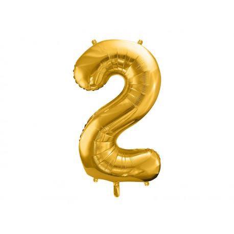 Globo dorado de foil de número 2