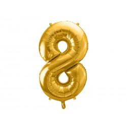 Globo dorado de foil número 8