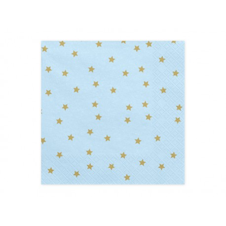 Servilletas de color azul claro con estrellas doradas