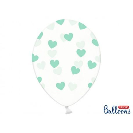 globos con corazones verde menta