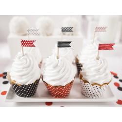 Cápsulas para cupcake rojo, negro y blanco