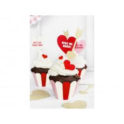 Cápsulas para cupcake rojo, rosa y blanco