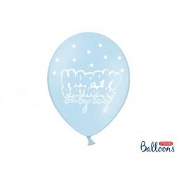 Globos Happy Birthday azul claro con estrellas