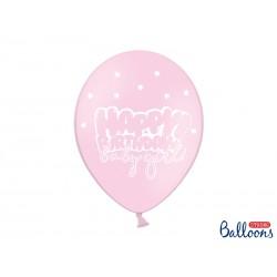 Globos Happy Birthday rosa claro con estrellas