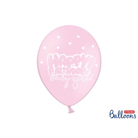 Globos Happy Birthday rosa claro con estrellas