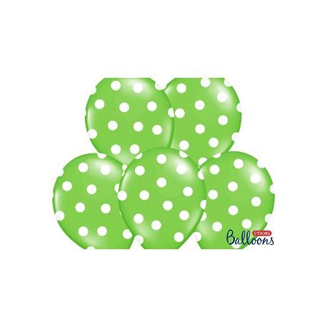 Globos verde lima con lunares blancos