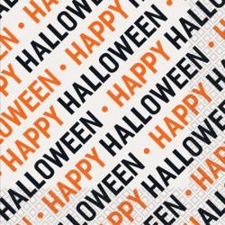16 Servilletas Happy Halloween blancas