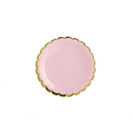 6 Platos de color rosa y bordes dorados