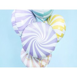 Globo foil candy de 45 cm blaco/lila claro
