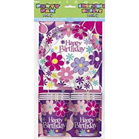 Pack básico Happy Birthday de flores para 8