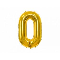 Globo dorado de foil número 0