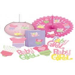 Adornos para mesa de ropa de bebe rosa
