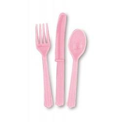 Cubiertos de color rosa claro