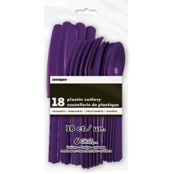 Cubiertos de color violeta oscuro