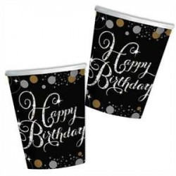 Vasos de Happy Birthday Negro/Plata