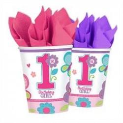 Platos Primer cumpleaños rosa Mariposas