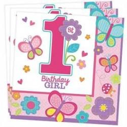 Servilletas Primer cumpleaños rosa Mariposas