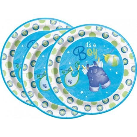 Platos de ropa de bebe azul