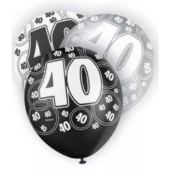 Globos 40 Cumpleaños negro/plata