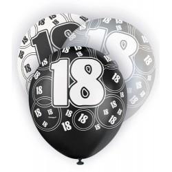 Globos de Cumpleaños 18 negro/plata