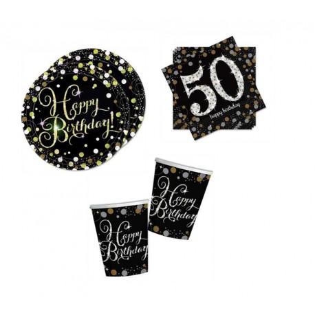 Mini pack Cumpleaños 50 negro/plata para 8