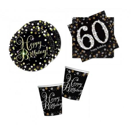 Mini pack Cumpleaños 60 negro/plata para 8