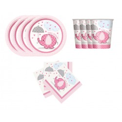 Mini pack de elefante con sombrilla rosa para 8