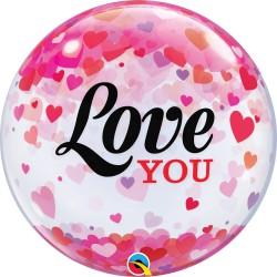 Globo Bubble I Love You Corazones Confetti