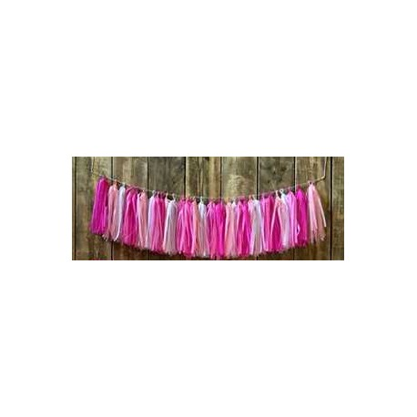 Guirnalda de flecos tonos rosa