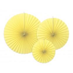 3 Abanicos lisos de color amarillo claro