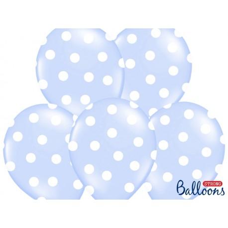 6 Globos de puntos de color azul claro