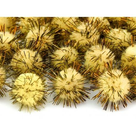 Mini pompones amarillos con papel dorado