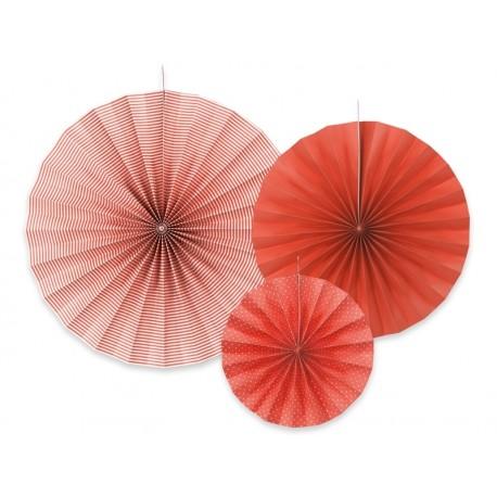 3 Abanicos estampados de color rojo