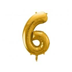 Globo dorado de foil número 6