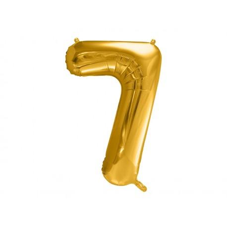 Globo dorado de foil número 7