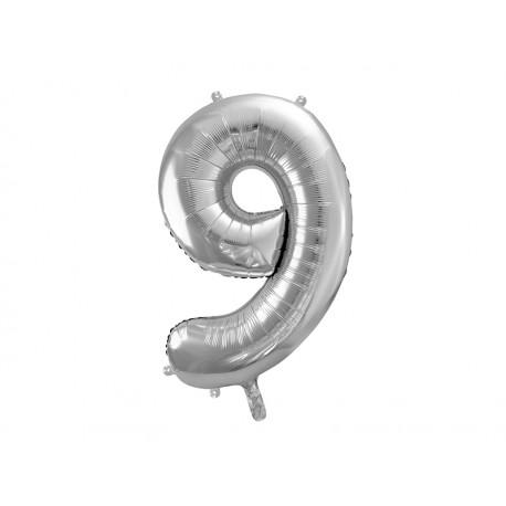 Globo plata de foil de número 9